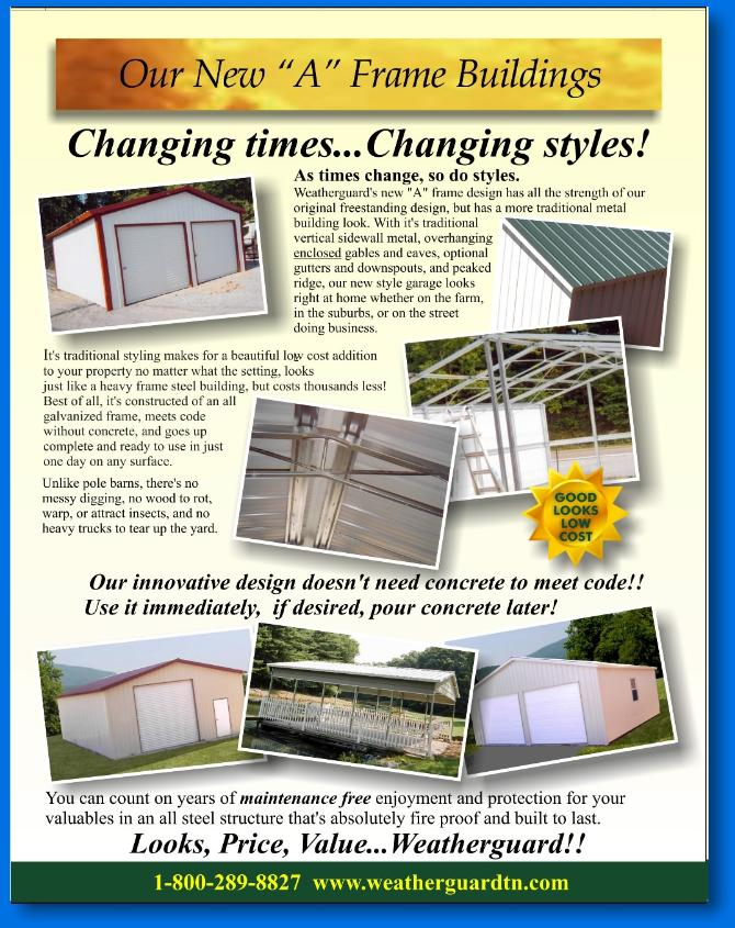 JOSEPH SORAH LAYOUT FOR WEATHERGUARD STEEL BUILDINGS BROCHURE A STYLE PAGE