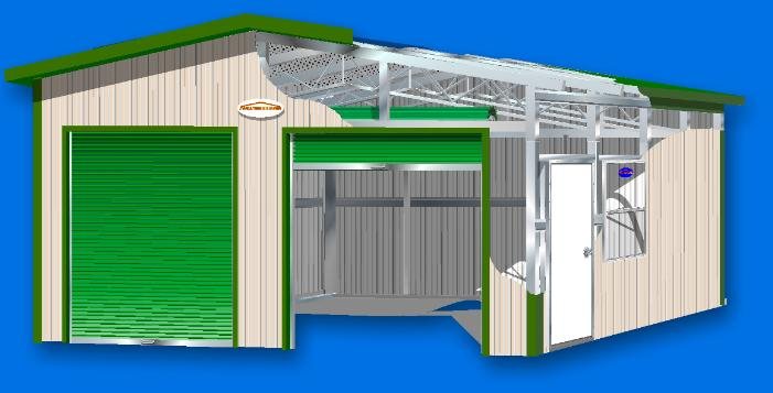 Technical Illustration of Weatherguard A Style garage with drop shadodw