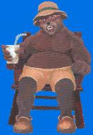 CHILDRENS BOOK ILLUSTRATION BEAR WITH DRINK IN CHAIR