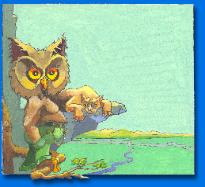 CHILDREN'S BOOK ILLUSTRATION OWL ON LIMB WITH LION