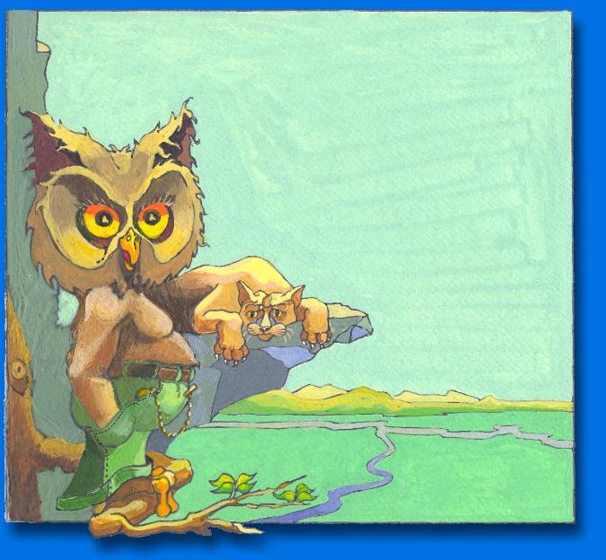 CHILDREN'S BOOK ILLUSTRATION LION AND OWL ON LIMB